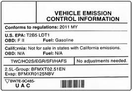 Federal Emissions Certification